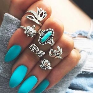Jewelry - Faux Turquoise Midi Knuckle Silver Toned Ring Set
